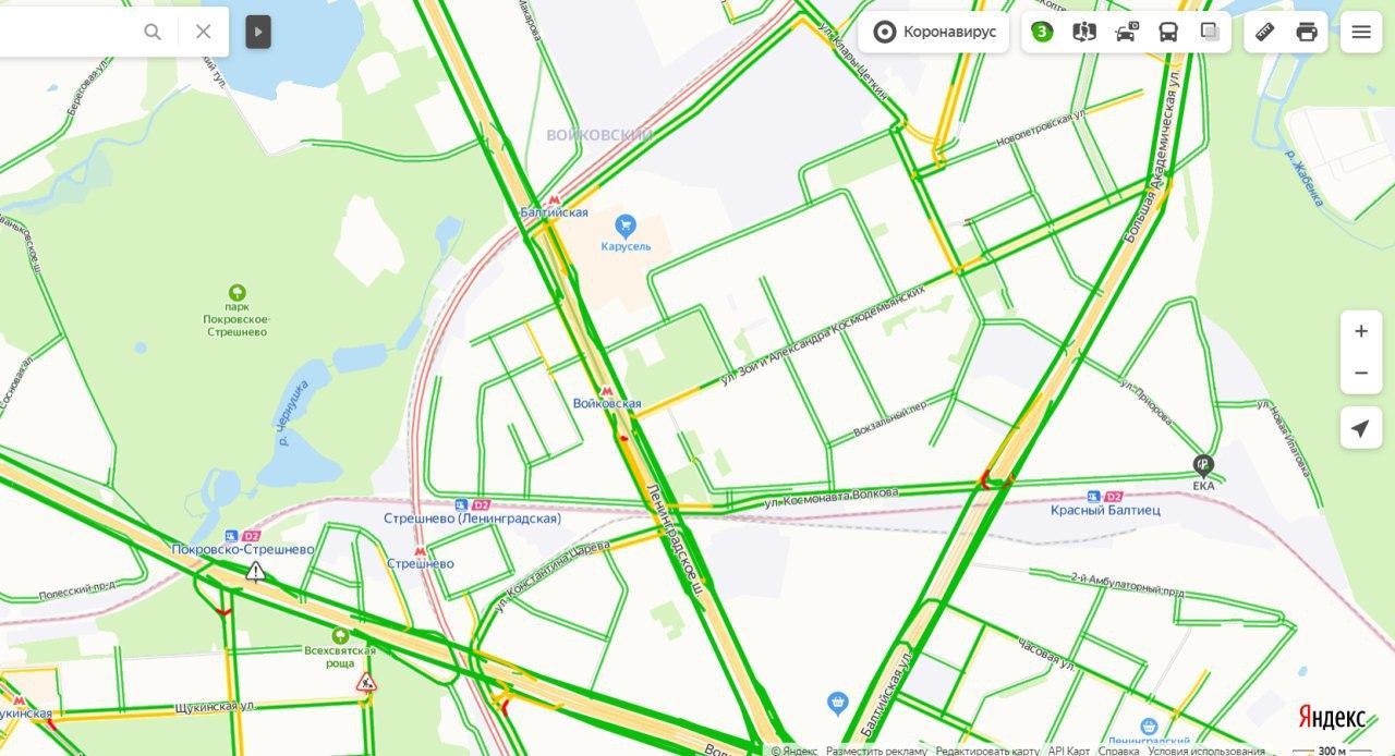 Пробки на Ленинградском шоссе утром 4 июня составляют три балла